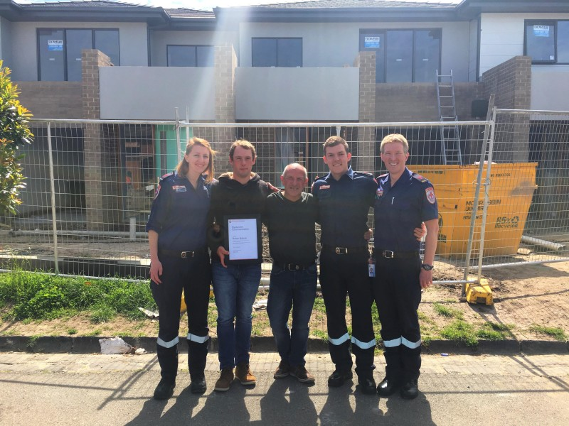 (L-R) Paramedic Jade, bystander Rohan, patient Michael, and paramedics Sam and Simon were reunited at the scene of the incident.